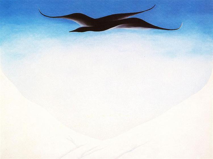 A Black Bird With Snow Covered Red Hills de Georgia O'Keeffe en 1946 ©Wiki -art