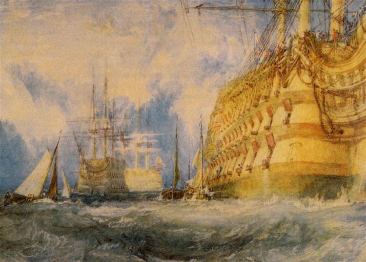 A First Rate Taking In Stores peint par Joseph Mallord William Turner est une Aquarelle et Crayon sur Papier de 39.7 x 28.6 cm faite en 1818 ©Wikiart