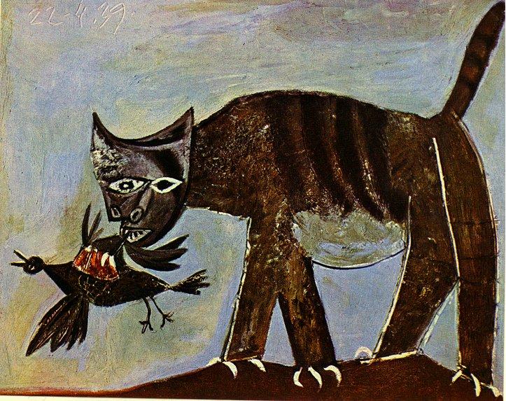 Chat saisissant un oiseau de Pablo Picasso est une Peinture à l Huile sur Toile de 81 x 100 cm faite en 1939 ©Wiki-art