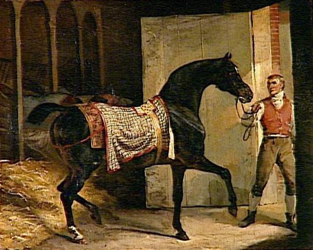 Cheval quittant l'Ecurie de Théodore Géricault -est une Peinture à l Huile sur Toile de 36 x 45 cm de 1810 ©Wiki-art