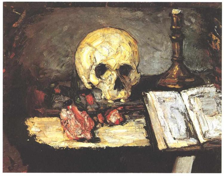 Crâne et chandelier peint par Paul Cézanne. C est une Peinture à l'Huile faite en 1866