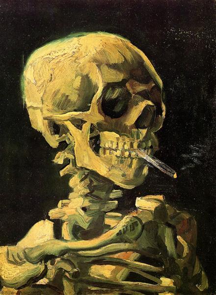 Crâne fumant une cigarette de Van Gogh, peint en 1885