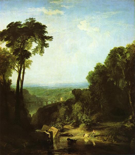Crossing the Brook peint par Joseph Mallord William Turner est une Peinture à l Huile sur Toile de 165 x 193 cm faite en 1815 ©Wikiart