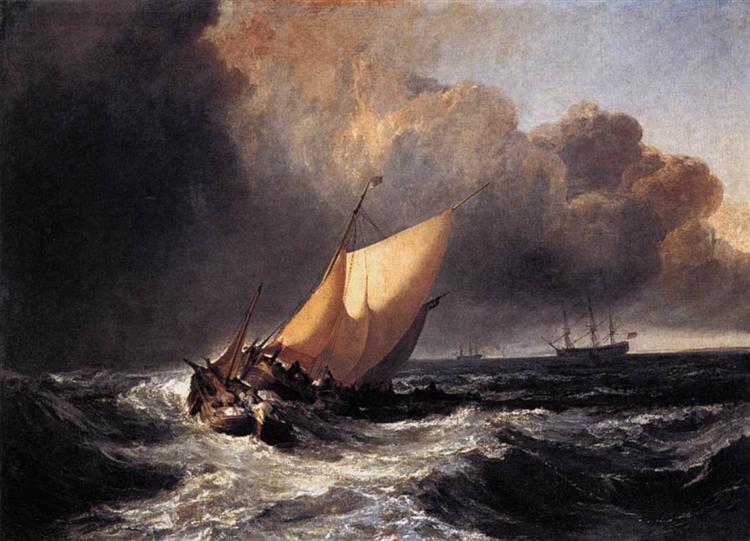 Dutch Boats in a Gale de Joseph Mallord William Turner en 1801 ©Wikiart