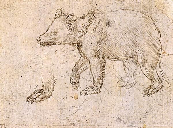 Etudes d'une marche par Léonard de Vinci est une Encre sur Papier de 10.3 x 13.4 cm datant de 1484 ©Wiki-art