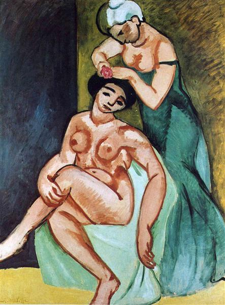 Female toilets par Henri Matisse est une Peinture à l Huile sur Toile de 116 x 89 cm faite en 1907 ©Wiki-art