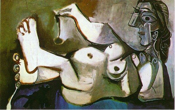 Femme nue couchée jouant avec un chat de Pablo Picasso en 1964 ©Wiki-art