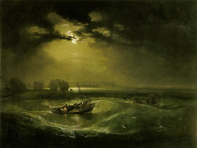 Fishermen at Sea de Joseph Mallord William Turner peint en 1796 ©Wikiart