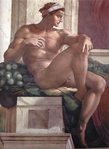 Ignudo de Michel-Ange est une Fresque faite en 1509 ©Wiki-art