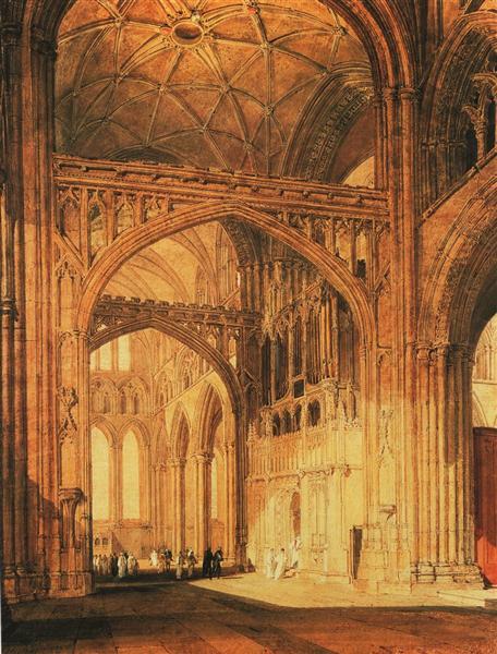 Interior of Salisbury Cathedral peint par Joseph Mallord William Turner. C est une Aquarelle sur Papier de 50.8 x 66 cm faite en 1802-1805 ©Wikiart