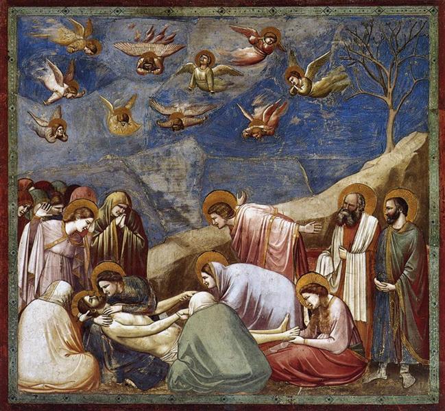 Lamentations sur la mort du Christ par Giotto. C est une Fresque faite entre 1304-1306 ©Wiki-art