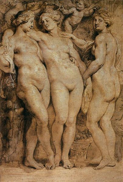 Les Trois Grâces par Pierre Paul Rubens faites entre 1620-1623 ©Wiki-art