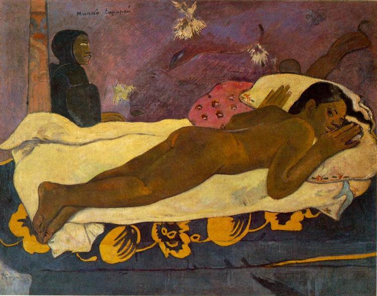 L'esprit des morts veille par Paul Gauguin est une Peinture à l Huile sur Toile de 73 x 92 cm faite en 1892 ©Wiki-art