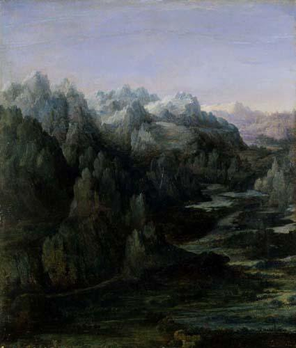 Mountain Range est une peinture d'Albrecht Altdorfer faite en 1530. ©Wiki-art
