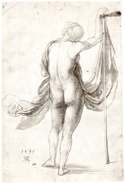 Nude Study (Nude Feale from the Back) dessiné par Albrecht Dürer avec Stylo et Encre sur Papier en 1495 ©Wiki-art
