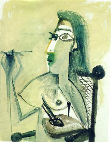 Nue dessinant assise dans un fauteuil par Pablo Picasso en 1965©Wikiart