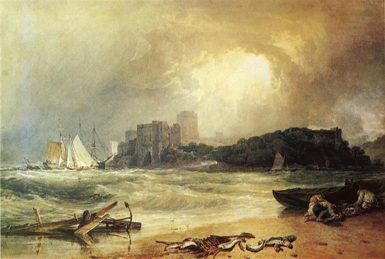 Pembrock Caselt, South Wales, Thunder Storm Approaching par Joseph Mallord William Turner. C est une Aquarelle sur Papier de 99.1 x 50.8 cm faite en 1801 ©Wikiart
