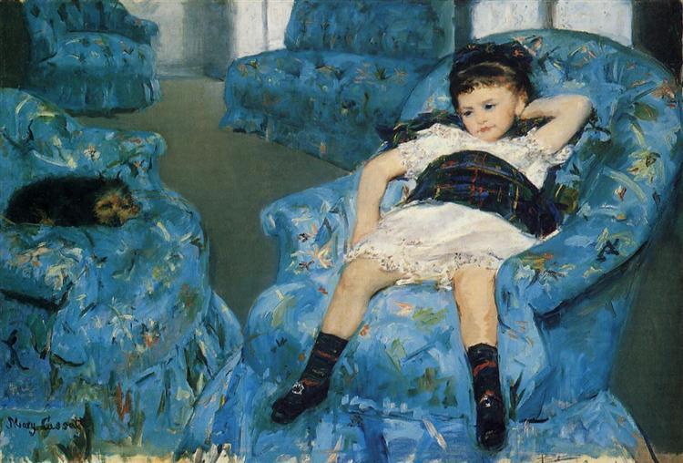 Petite Fille dans un fauteuil bleu de Mary Cassatt est une Peinture à l Huile sur Toile de 89 x 129.5 cm datant de 1878©Wikiart