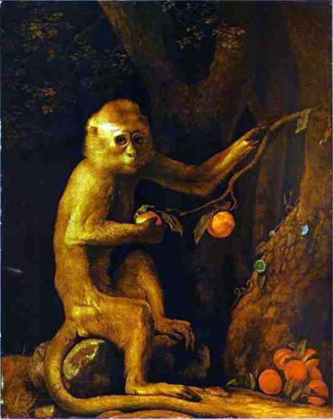 Portrait d'un Singe de George Stubbs est une Peinture à l Huile sur Toile de 60.3 x 70.5 cm datant de 1774 ©Wiki-art