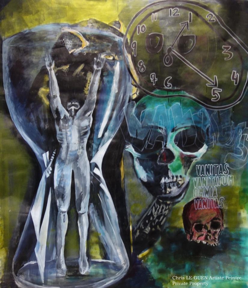 Vanité de Vanités, tout est Vanité a été dessiné par Chris Le Guen Artiste Plasticienne Peintre et Sculptrice