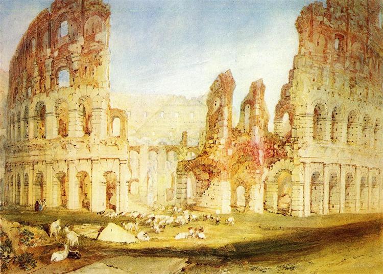 Rome, The Colosseum peint par Joseph Mallord William Turner avec Aqurelle sur Papier de 29.3 x 27.7 cm fait en 1820 ©Wikiart