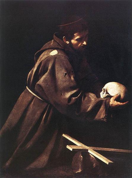 Saint-François en méditation de Caravage fait en 1610
