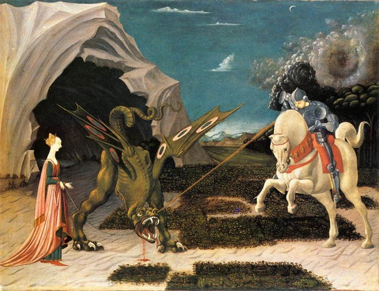 Saint Georges et le Dragon de Paolo Uccello. C est une Peinture à l Huile sur Toile de 75.7 x 58.5 cm faite en 1470. ©Wiki-art