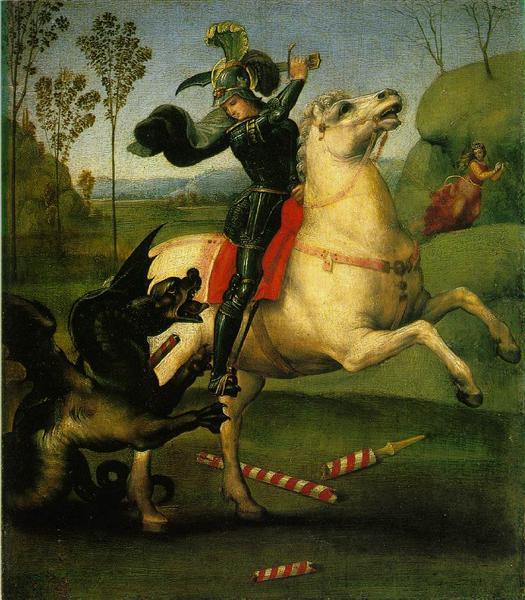 Saint Georges et le Dragon peint par Raphaël. C'est une oeuvre avec Stylo, Encre et Peinture à l'Huile sur Papier de 27 x 31 cm faite en 1503. ©Wiki-art