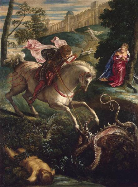 St George peint par Tintoret est une Peinture à l'Huile sur Toile de 122 x 92 cm faite en 1543-1544. ©Wiki-art
