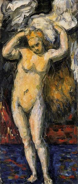 Standing Bather, Drying Her Hair de Paul Cézanne en 1869 ©Wiki-art
