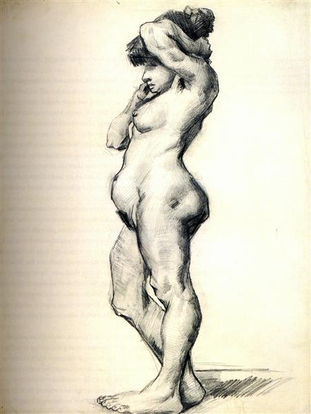Standing Female Nude Seen From the Side de Vincent Van Gogh fait en 1886 ©Wiki-art