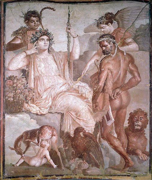 Télèphe et Héraclès dans une Fresque d'Herculanum à Naples. Début IIè siècle. ©Wikipedia