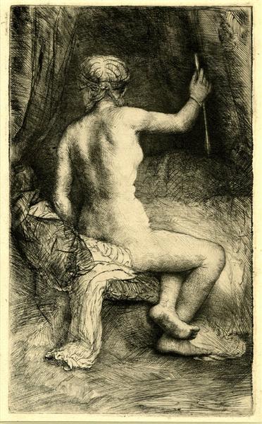 The Woman with the Arrow de Rembrandt est une Gravure faite en 1661 ©Wiki-art