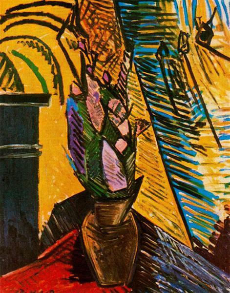 Cubisme Fleurs sur une table de Pablo Picasso est une Peinture à l'Huile de 92.7 cm x 72.4 cm faite en 1907 ©WikiArt