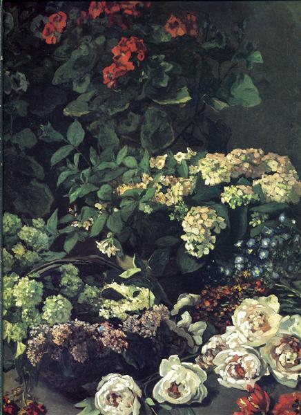 Impressionnisme Fleurs de Printemps de Claude Monet est une Peinture à l'Huile de 91 x 116.8 cm fait en 1864 ©WikiArt