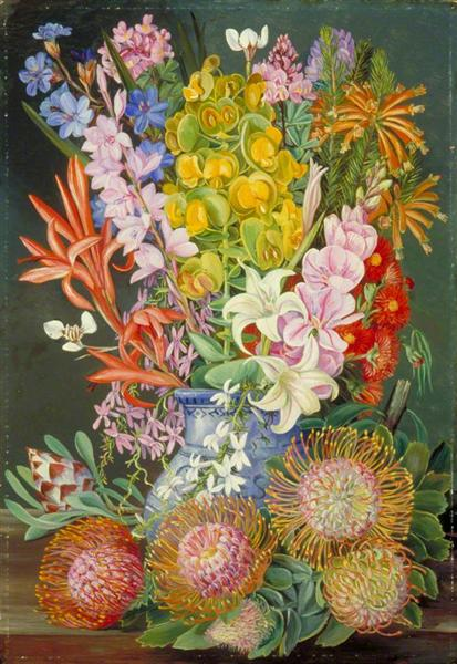 Naturalisme Wild Flowers of Ceres, South Africa de Marianne North peint en 1882 ©WikiArt