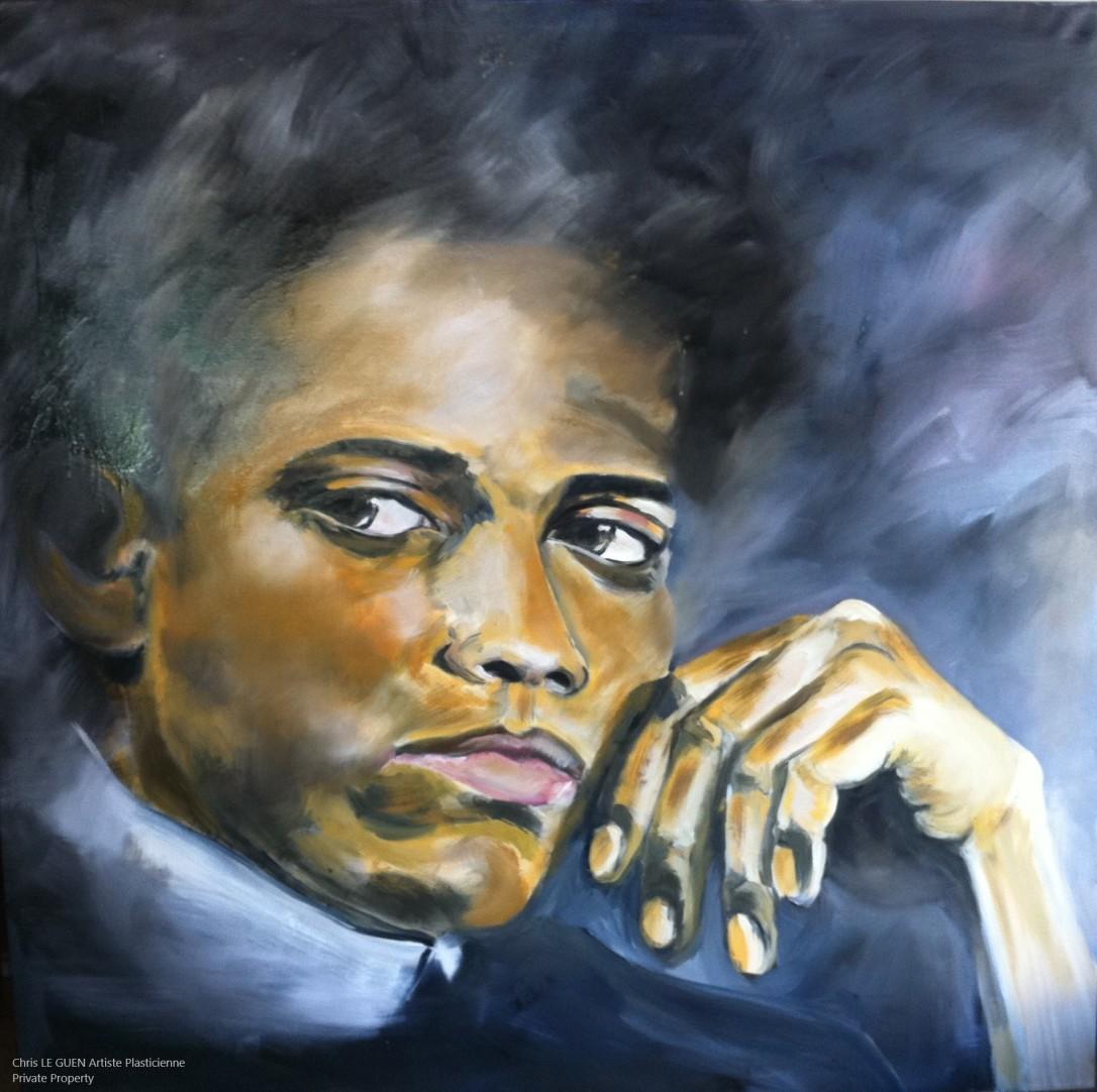 Chris Le Guen Artiste Plasticienne Peintre et Sculptrice peint Jean-Michel Basquiat