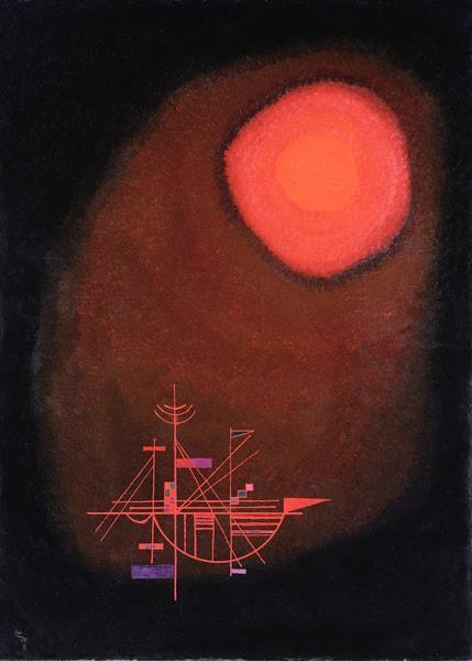 Red Sun and Ship de Vassily Kandinsky peint en 1925 ©WikiArt