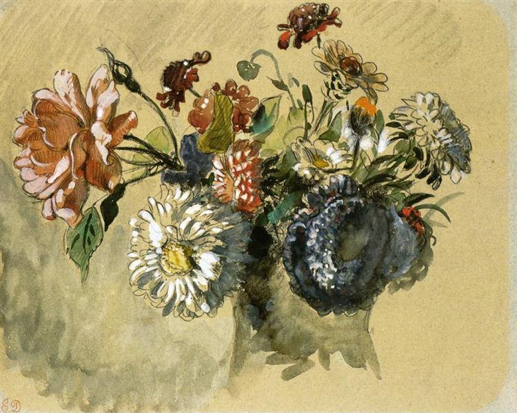 Romantisme Bouquet de Fleurs de Eugène Delacroix en 1843 ©WikiArt