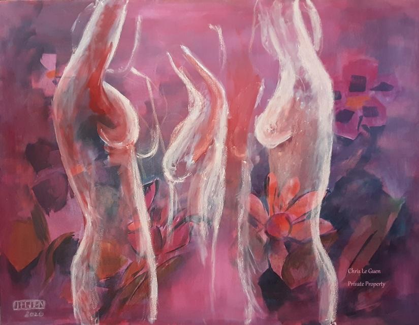 """""""Octobre Rose"""" - Toile en lin de 130 cm x 100 cm - Peinture à l'Huile et Peinture Pigments - 800€"""