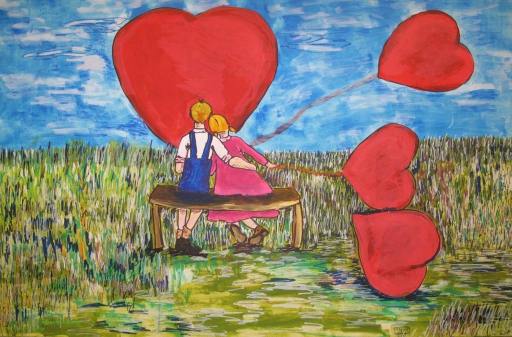 N°1 est un coup de foudre à la Saint-Valentin peint par Chris Le Guen - Artiste Plasticienne Peintre et Sculptrice à Saint-Perreux dans le Morbihan