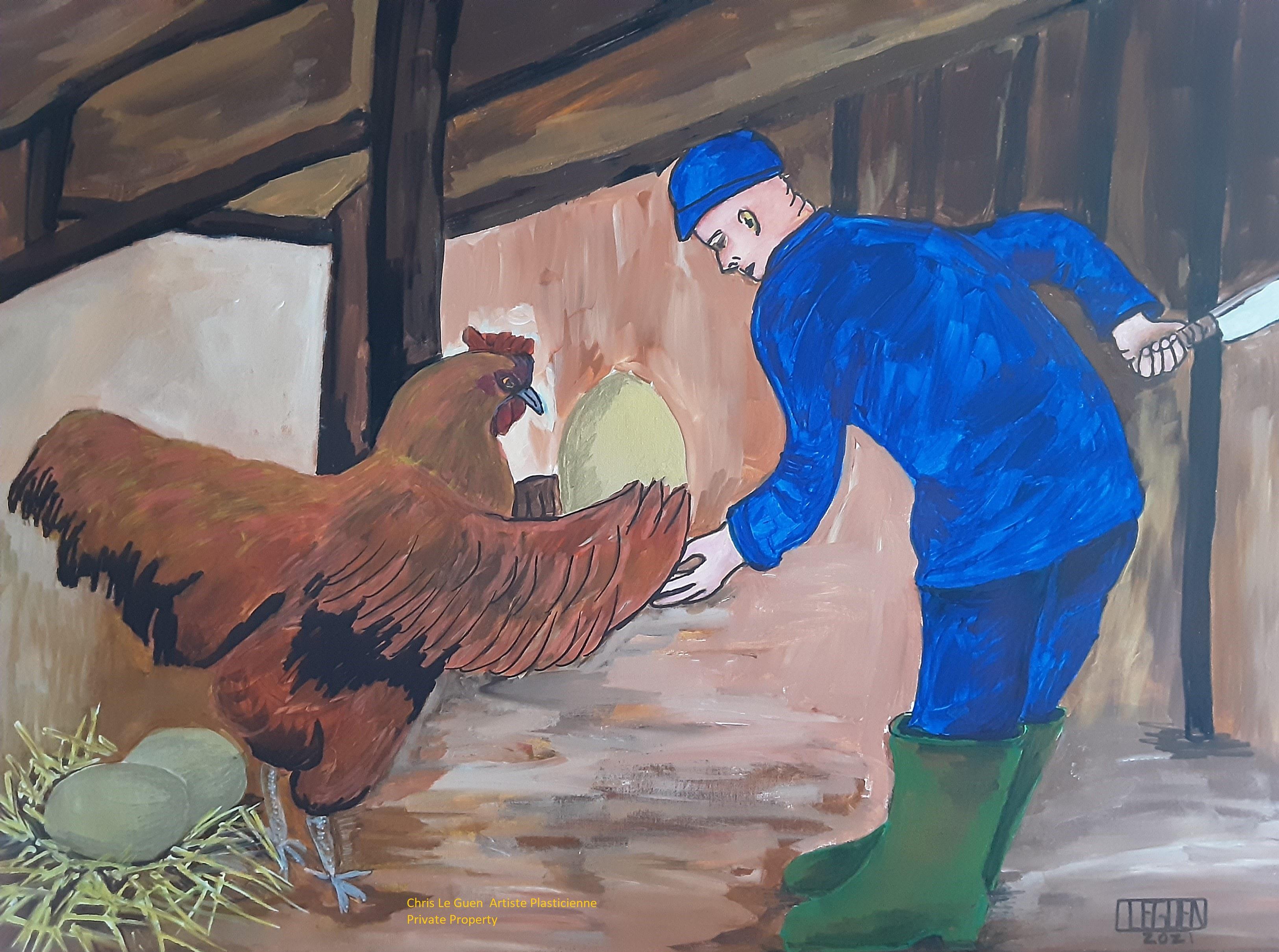Chris Le Guen a peint cette fable de Jean de La Fontaine, la Poule aux œufs d'or